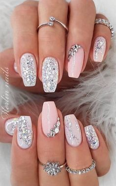 35 Simple Ideas for Wedding Nails Designnude glitz lookSpring fever nails 90 super cute spring nails page 27 RelatedWow love these fall nail designs. Cute Acrylic Nails, Glitter Nail Art, Acrylic Nail Designs, Nail Art Designs, Gold Glitter, Acrylic Art, Ombre Nail Designs, Pastel Nails, Gold Nails