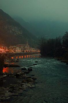 valstagna, misty december night in italy, (by Valeria Deda Perli)