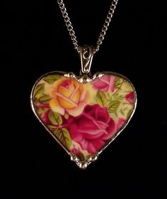 Old Country Roses OCR chintz. Broken china jewelry pendant necklace. Made from a broken china plate by Dishfunctional Designs
