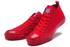 2014 Monochromatic Red Converse UK Union Flag Mid Tops Chuck ...