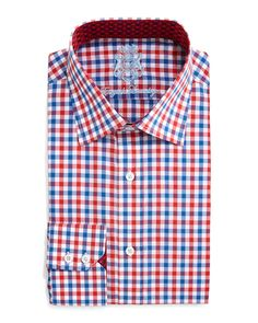 English Laundry Gingham Check Dress Shirt, Red/Blue, Men's, Size: 16X34
