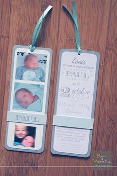 Faire-part naissance marque-page gris et bleu ciel - texte style letterpress http://www.mainsetmerveillesdeco.fr/