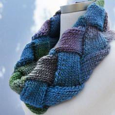 Merino Wool Checkerboard Knit Scarf / Cowl by ThisSeamsGood, $35.00