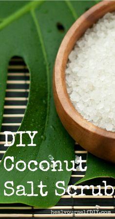 Coconut Oil Salt Scrub | healyourselfDIY.com