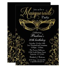 Black And Gold Masquerade Mask Party Invitation Foil Leaf Gift Idea Special Template
