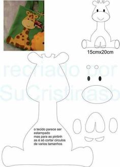 moldes para hacer jirafas de fieltro paso a paso Foam Crafts, Diy And Crafts, Crafts For Kids, Felt Animal Patterns, Stuffed Animal Patterns, Sewing Stuffed Animals, Decoration Creche, Sewing Crafts, Sewing Projects