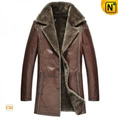 Mens Sheepskin Lined Fur Leather Coat CW868825