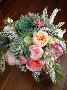 Wedding Bouquet Arranged With: Succulents, English Garden Roses, Andromeda, Veronica, Greenery & Foliage Wedding Flower Arrangements, Wedding Centerpieces, Floral Arrangements, Bouquet Bride, Wedding Bouquets, Rose Bouquet, Floral Wedding, Wedding Flowers, Trendy Wedding