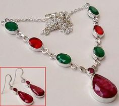 A gorgeous set of sterling silver necklace and earrings with appealing red ruby faux gemstone, giving it a stunning look...!!  #jewelexi  #necklace #earrings  #jewelry