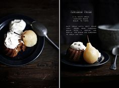 Spice cake with poached pears and cardamom cream
