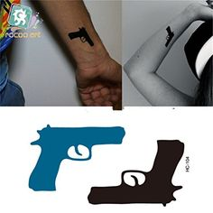 Niwota 6 Sheets Pistol & Bicycle & Kull Tattoo Trendy & Beautiful & Fresh & Waterproof Tattoo. Three styles, each style includes 2 same sheets. Highest quality printing with longer lasting ink. Pistol & Bicycle & Kull design. Non Toxic and easy to apply. Waterproof.