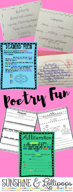 Poetry Writing Frames and coordinating Posters Free and ready to Print and Use just in time for April. Your students will love using these posters and frames to write poems about Spring or any topic!