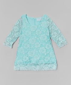 Look what I found on #zulily! Mint Lace Three-Quarter Sleeve Dress - Infant, Toddler & Girls #zulilyfinds