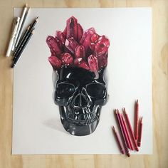 This pretty baby is finished ❤✨ Crystals have tested my patience once again..but that's how you know it's worth it. Hope you guys like it  Drawn on Strathmore Bristol Smooth paper with Faber Castell Polychromos, Prismacolors and white gel pen. Might make prints to go along with my other crystal skull which you can get in my shop - ennife.bigcartel.com ️️️ Thanks so much for the support again you guys, I love you all! #art #drawing #crystalskull #ruby #sharingart #artspipl @sharing.a...