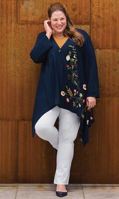 Flyaway Embroidered Jacket & Anywhere Pants / MiB Plus Size Fashion for Women / Fall Fashion http://www.makingitbig.com/product/4837