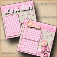 IT'S A GIRL baby 2 premade scrapbook pages album layout paper piecing DIGISCRAP