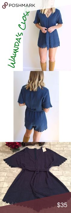 """LUSH BLUE ROMPER Beautiful, light-weight indigo cotton romper featuring a v-neckline, eyelet cutout designs around hemlines, short sleeves & a tie-waist belt. 100% cotton, 30"""" long.✅Price is firm but can be discounted with bundle.🚫No Trades. Lush Pants Jumpsuits & Rompers"""