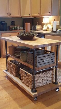 Iron pipe and butcher block kitchen island pipe # Butcher block kitchen is. Iron pipe and butcher block kitchen island pipe # Butcher block kitchen island . Industrial Kitchen Island, Diy Kitchen Island, Kitchen Redo, New Kitchen, Kitchen Layout, Moving Kitchen Island, Design Kitchen, Diy Kitchen Makeover, Moveable Kitchen Island