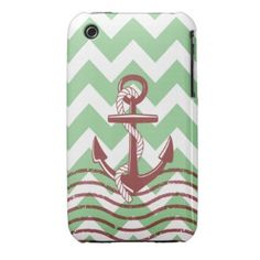 Nautical Ship Anchor Mint Chevron Pattern iPhone 3 Cases