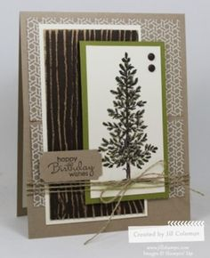 A Masculine birthday card featuring the Lovely As A Tree stamp set.  #stampinup