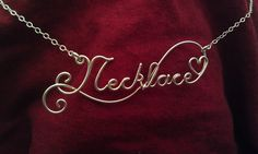 20 Gauge STERLING SILVER CUSTOM Wire Name or special word Necklace. $35.00, via Etsy.