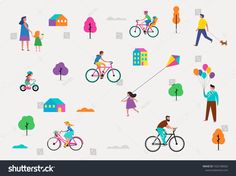 Summer outdoor scene with active family vacation, park activities illustration with kids, couples, families, relexing on nature, walk with dog, ride bicycles #Ad , #ad, #park#vacation#illustration#activities Family Poster, 3d Wallpaper, Cinema 4d, Bicycles, Families, Royalty Free Stock Photos, Bedroom Decor, Scene, Vacation