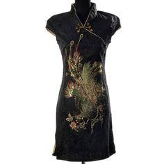 c01392da5 Shanghai Tone Phoenix Sexy Qipao Dress Black Gold Available Sizes:  0,2,4,6,8,10. Margaret M Necaise · Chinese dresses · Quyi Women's ...