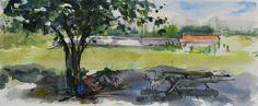 Martine Vernet, À l'ombre, aquarelle 65x35cm