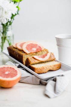 This recipe for olive oil grapefruit cake is perfect for spring gatherings, baby or wedding showers, and Easter brunch! It is made with whole grain flour, olive oil, and whole milk yogurt, making it moist and delicious! #oliveoil #grapefruitcake #wholemilkyogurt #springbaking #easterrecipes