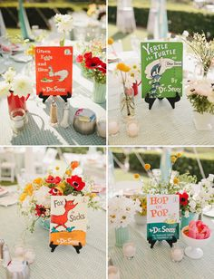 Fun centerpieces for this Dr. Seuss inspired wedding! Photo by @matthewmorgan