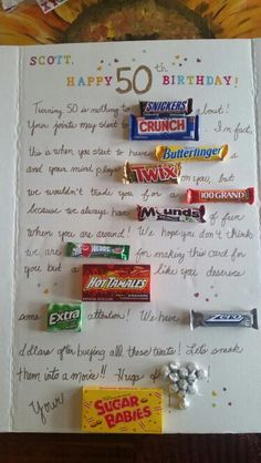 50th Birthday Candy Poster Card More
