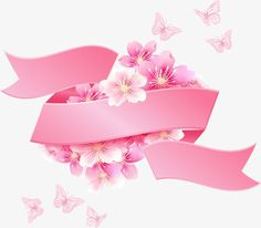 Cherry blossoms with a pink ribbon Free Vector Birthday Cards, Birthday Parties, Ribbon Banner, Decoupage Vintage, Vector Flowers, Banner Design, Vector Free, Vector Vector, Diy And Crafts