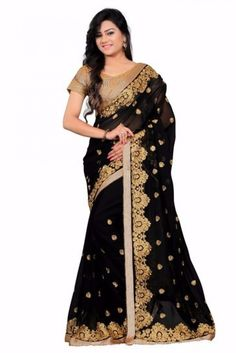 fcd733d27394ce Georgette Party Wear Saree in Black Colour
