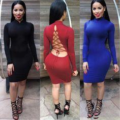 New Women Black Backless Turtleneck Bandage Long Sleeve Club Party Bodycon Dress #Generic #Sexy #Clubwear
