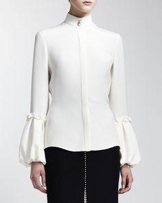 Alexander McQueen Long-Sleeve Silk Blouse, Long Bead-Trim Leaf Crepe Skirt & Velvet Cathedral Belt - Bergdorf Goodman