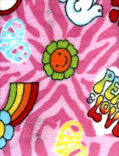 "4yard piece Whisper Fleece 60"" Wide- Peace  Love- Color-Pink"