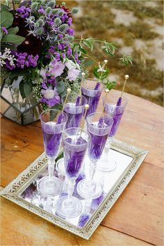 42 Ideas wedding decorations lavender ana rosa for 2019 Wedding Candy, Our Wedding, Dream Wedding, Wedding Ideas, Trendy Wedding, Wedding Signature Drinks, Signature Cocktail, Purple Wedding Drinks, Purple Signature Drinks