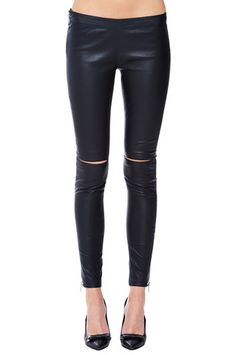 Anine Bing leather leggings slits