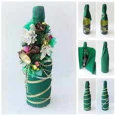 Creative Ideas - DIY Decorated Holiday Champagne Bottle | iCreativeIdeas.com Follow Us on Facebook --> https://www.facebook.com/iCreativeIdeas