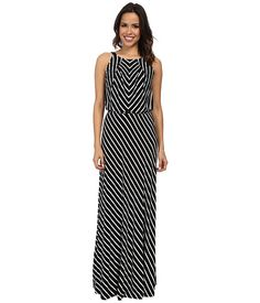 Marc New York by Andrew Marc Halter Neck Blouson Maxi Dress MD4FM572 Black/White - 6pm.com