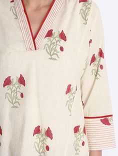 Red-Creame Block Printed Cotton Kurta with Pockets by Jaypore (Kurtha Top Design) Salwar Designs, Printed Kurti Designs, Simple Kurti Designs, Kurta Designs Women, Neck Designs For Suits, Neckline Designs, Dress Neck Designs, Sleeve Designs, Blouse Designs