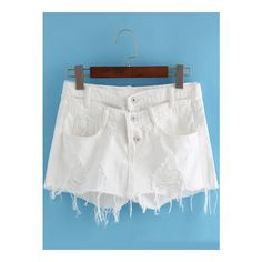 SheIn(sheinside) White Pockets Ripped Fringe Denim Shorts (£10) ❤ liked on Polyvore featuring shorts, white, white shorts, white distressed shorts, jean shorts, torn shorts and distressed shorts