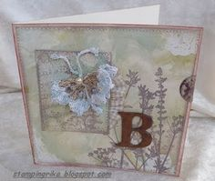 card with crochet butterfly