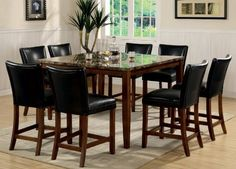 9pc Counter Height Dining Table  Stools Set Cherry Finish >>> To view further for this item, visit the image link.Note:It is affiliate link to Amazon.