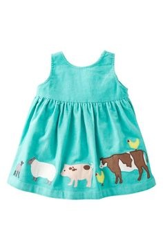 Adorable mint farm animal dress.