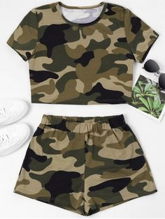 Occasion: Casual ,Going Out Style: Casual Fit Type: Straight Collar-line: Round Collar Sleeves Length: Short Sleeves Material: Cotton,Polyester,Polyurethane Waist Type: Mid Closure Type: Elastic Waist Front Style: Flat Pattern Type: Camo Tween Fashion, Teen Fashion Outfits, Fashion Week, Outfits For Teens, Cute Lazy Outfits, Camo Outfits, Tee Courts, Cute Sleepwear, Style Casual