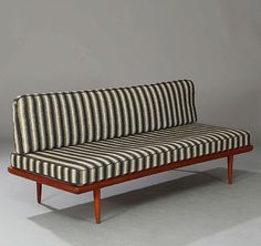 Peter Hvidt Orla Mølgaard Nielsen: Three seater sofa with frame and chromed steel. Cushions upholstered with striped black/white wool. Find Furniture, Furniture Design, Steel Sofa, Sofa Design, Interior Design, Sofa Bench, Three Seater Sofa, Mid Century Furniture, Living Room Inspiration