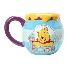 Disney Winnie The Pooh Hunny Mug | Hot Topic ($19) ❤ liked on Polyvore featuring home, kitchen & dining, drinkware, disney, disney mugs and ceramic mugs