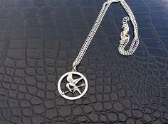 Mockingjay symbol necklace hunger games inspired by PetalcraftArt