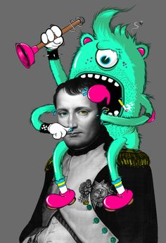 Napoleon and ??? Photo Illustration, Digital Illustration, Graphic Design Illustration, Photomontage, Pablo Picasso, Doodle On Photo, Draw On Photos, Art Sculpture, Arte Legal